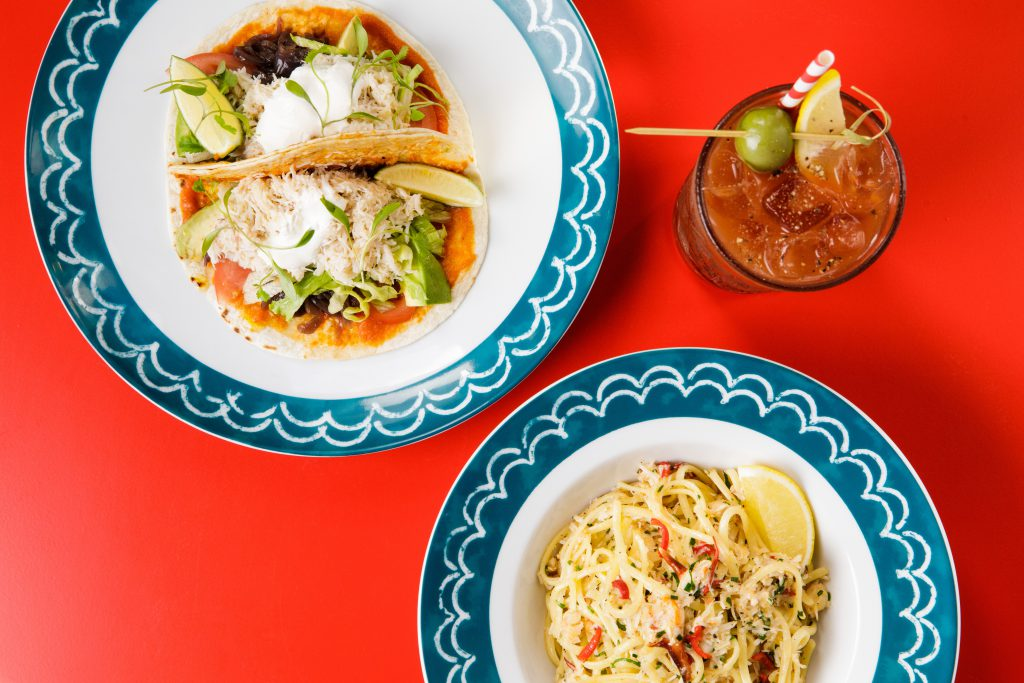 Jersey Crab Shack Tacos and Linguine